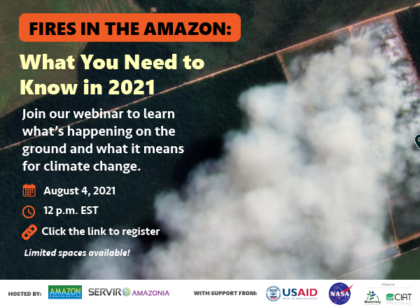 Join us by attending this free webinar to learn about fires in the Amazon in 2021